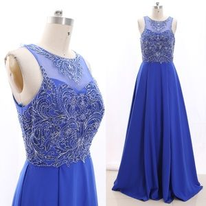 Illusion Lace Crepe Royal Blue Maxi Prom Dress